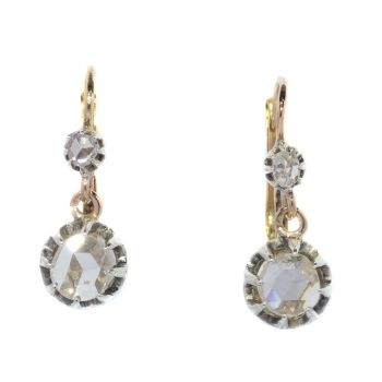 Antique rose cut diamond earrings by Unknown Artist