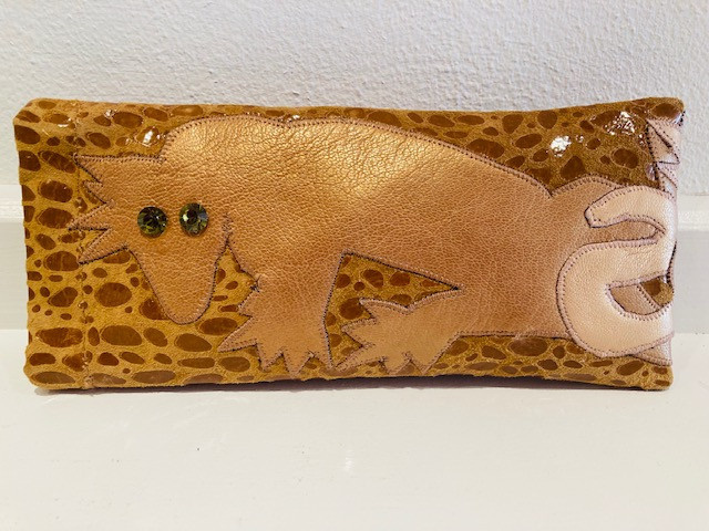 Spectacle holder in leather with Swarovski details, handmade by Fong Leng by Fong Leng