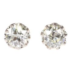 Vintage diamond Art Deco ear studs by Unknown Artist