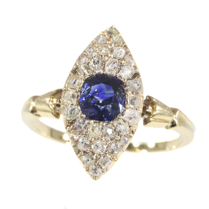 Early Victorian diamond and natural vivid blue sapphire engagement ring by Unknown Artist