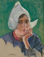 A Volendam girl (portrait of Hilde Buter) by Willy Sluiter