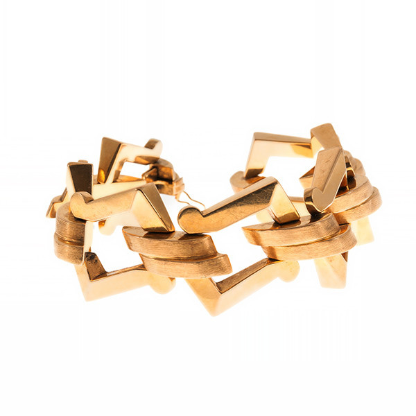Asymmetrical gold Retro bracelet by Unknown Artist