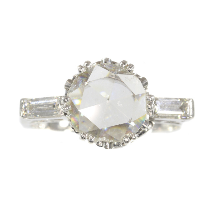 Vintage Fifties large rose cut diamond platinum engagement ring Art Deco inspired by Unknown Artist