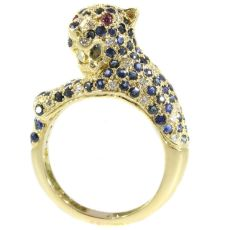 Cartier inspired panther ring with diamonds and sapphires by Unknown Artist