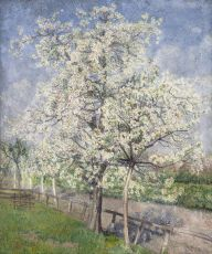 Trees in bloom along a fence by Jakob Nieweg