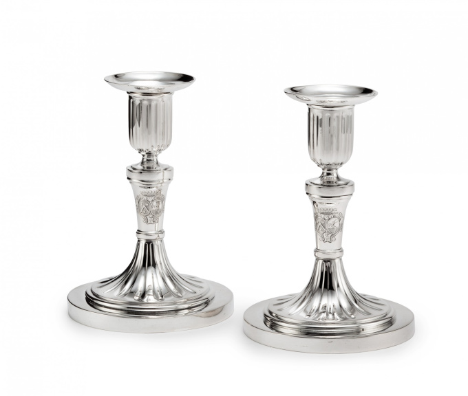 A pair Dutch of silver candlesticks by Johannes Schiotling