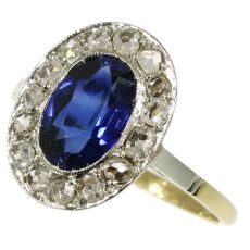Estate diamond and sapphire anniversary or engagement ring by Unknown Artist
