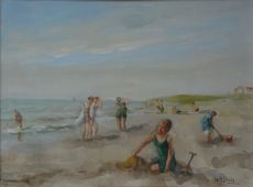 Figures on the beach by Louis Soonius