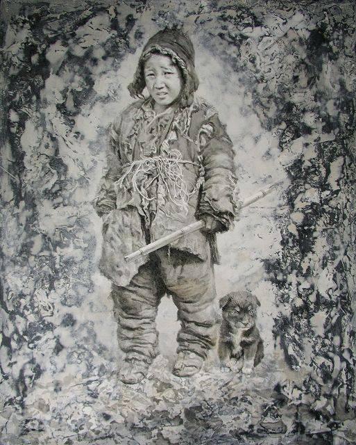 Young Tibetan Boy with his dog by Sheng Shaopeng