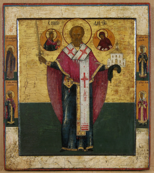 Russian wooden icon: Saint Nicolas The Savior Of Mozaisk by Unknown Artist