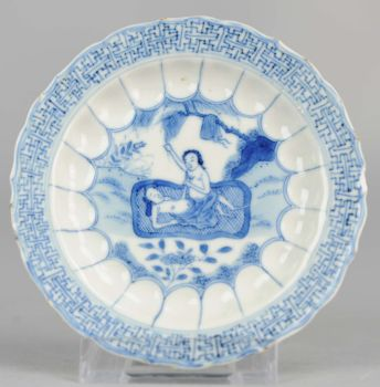 Blue and white saucer decorated with a pregnant lady, early 18th century by Unknown Artist