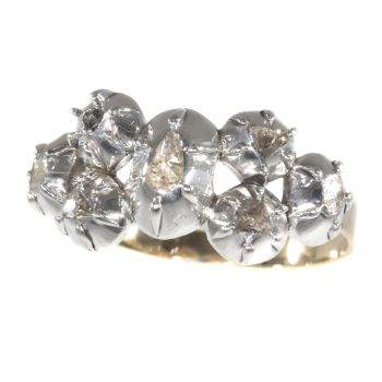 Antique ring with rose cut diamonds Victorian age by Unknown Artist