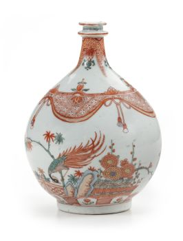 TWO FINE JAPANESE ARITA AMSTERDAM DECORATED OR 'CLOBBERED' BOTTLES by Unknown Artist