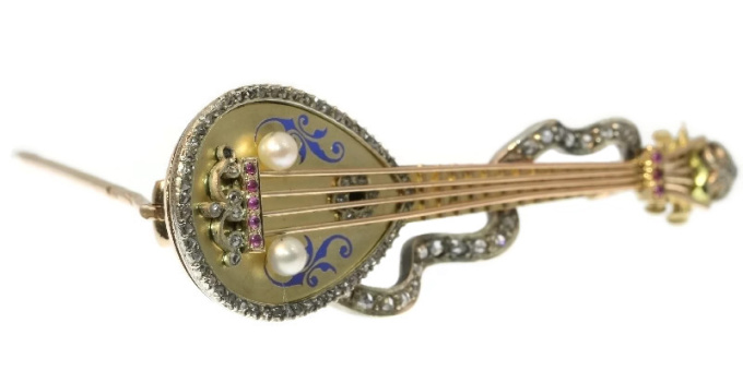 Russian antique brooch mandoline or domra with rose cut diamonds and enamel by Unknown Artist