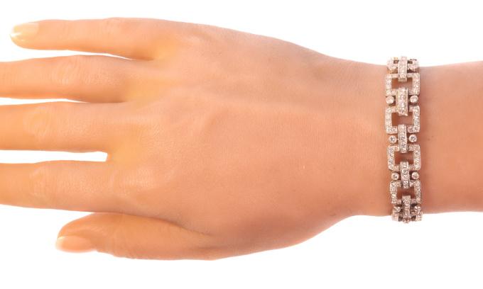 Vintage Fifties Art Deco inspired diamond platinum bracelet by Unknown Artist