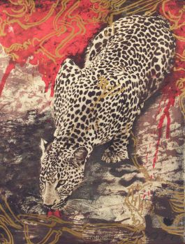 Drinking Leopard by Gerti Bierenbroodspot