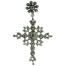 Flemish antique cross pendant with rose cut diamonds mid 19th century by Unknown Artist