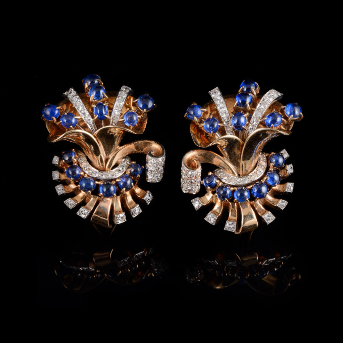 Retro sapphire earclips by Unknown Artist
