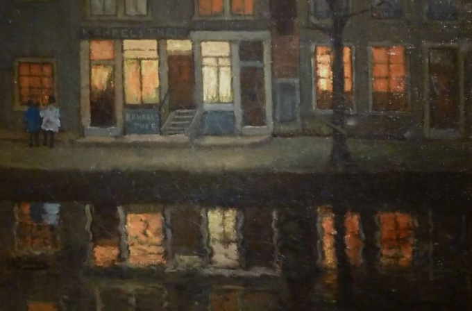 """Amsterdam Canal with Wall Inscription """"Kahrels Thee"""" (Carl's Tea) by George Hendrik Breitner"""