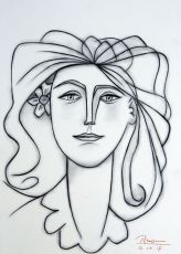 Woman with flower behind her ear