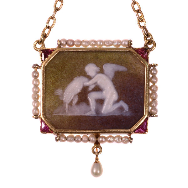 Antique stone cameo pendant on gold chain with mythological motive antique stone cameo pendant on gold chain with mythological motive by unknown artist mozeypictures Image collections