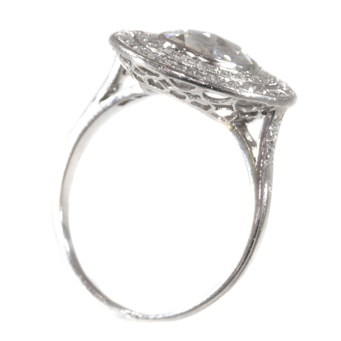 Art Deco platinum diamond engagement ring with large rose cut diamond by Unknown Artist