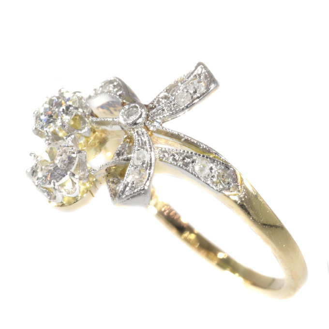 Charming Belle Epoque ring with diamonds by Unknown