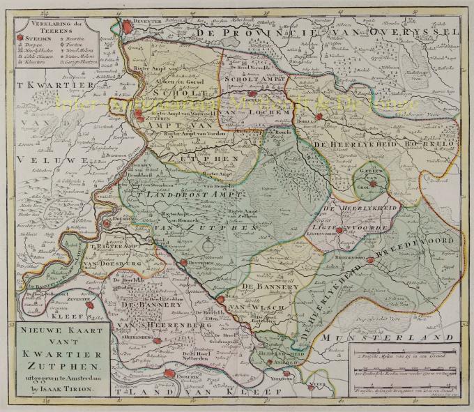 Nieuwe kaart van 't Kwartier Zutphen by Tirion, Isaak (1705 - 1765)