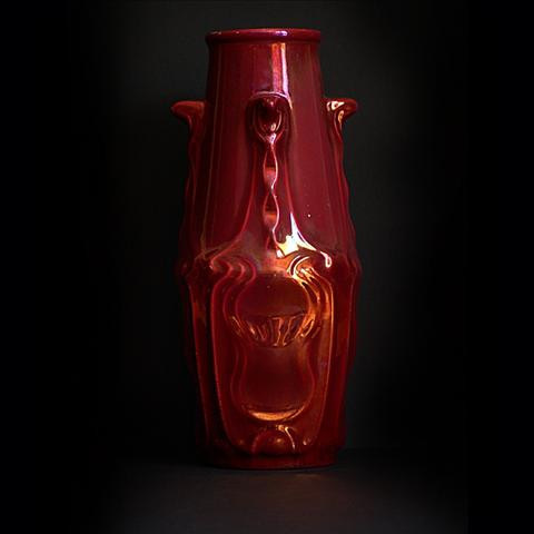 Ceramic deep red vase from Rambervillers by Unknown Artist