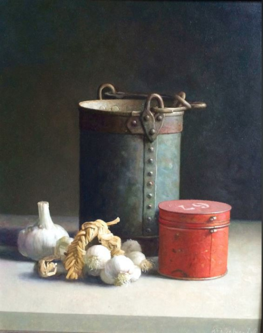 Still-life with a Red Tin, Bucket and Garlic by Henk P.N. Helmantel