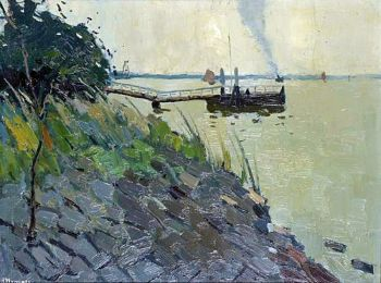 Riverview with scaffolding (near Kinderdijk, the Netherlands) by Raoul Hynckes