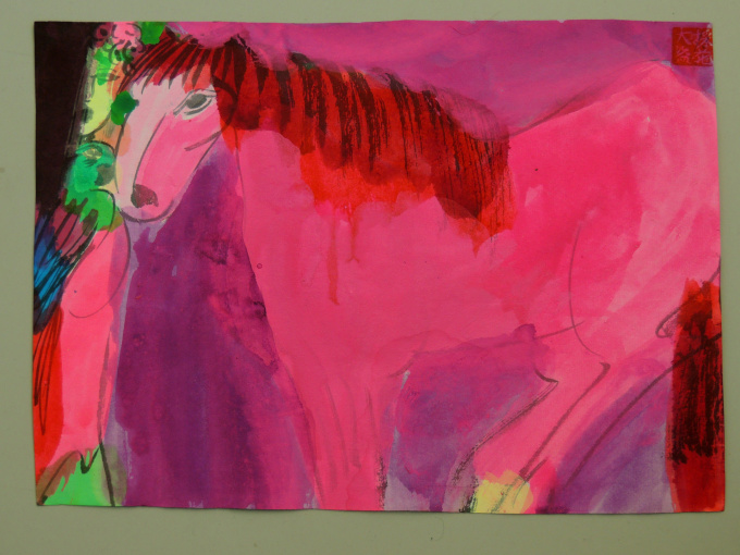 Pink horse by Walasse Ting