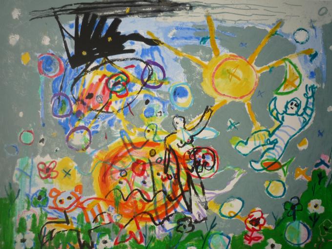'Evolutie droom' Gouache by Hans Truijen