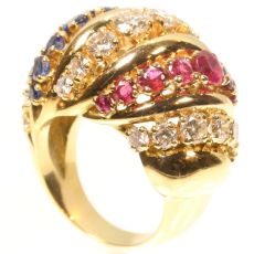 Impressive Fifties Cocktail ring with three diamond rows alternating with rubies by Unknown Artist