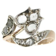 Antique ring Victorian with diamonds tulip motif by Unknown Artist