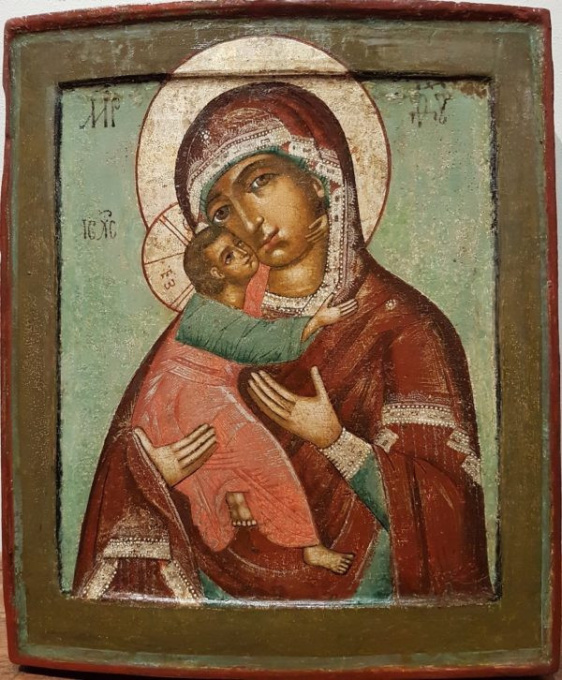Russian icon: The Mother of God of Vladimir, 18th century by Simon Ushakov