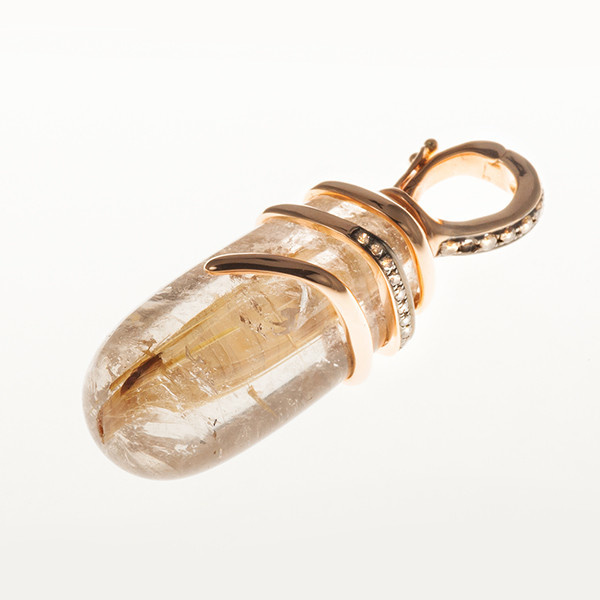 Modern pendant with rutilated quartz and champagne coloured diamonds by Unknown Artist