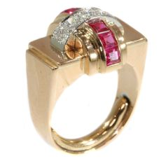 Stylish Retro red gold Cocktail ring with diamonds and rubies by Unknown