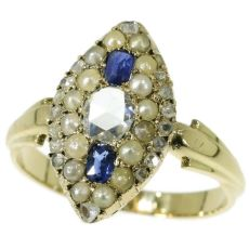 Orginal antique Victorian ring with rose cut diamonds sapphires and seed pearls by Unknown Artist