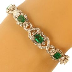 Truly magnificent 16+ crt brilliant and 7- crt Colombian emerald estate bracelet by Unknown