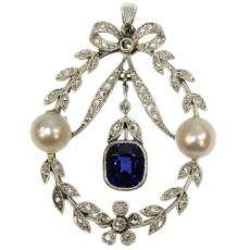 Belle Epoque diamond pearl and sapphire pendant