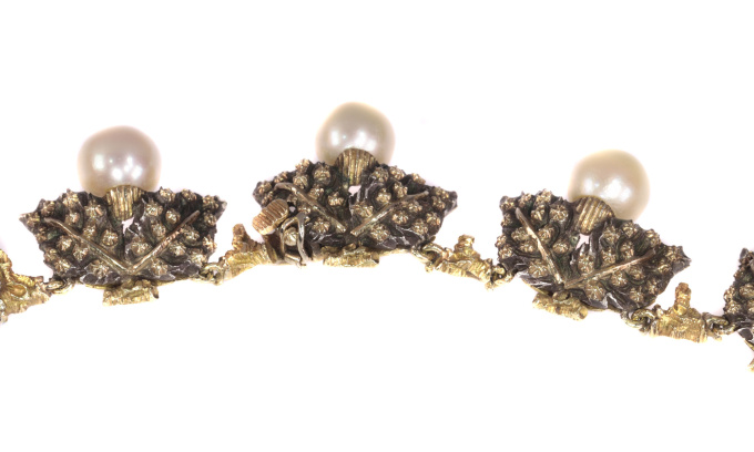 Mario Buccellati Vintage Fifties gold and silver pearl neck jewel necklace with grape leaf motive by Buccellati