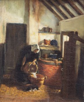 Woman Pouring milk by Hendrik de Court Onderwater