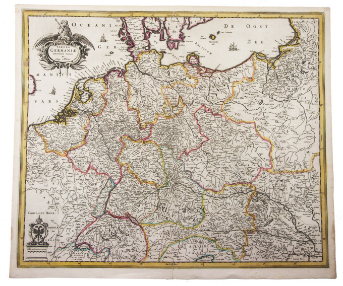 Very rare map of central Europe, hand-coloured in outline by Hugo Allard (Allardt)