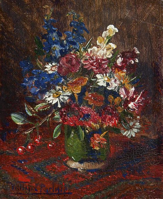 Flowers in a vase by Willem Elisa Roelofs
