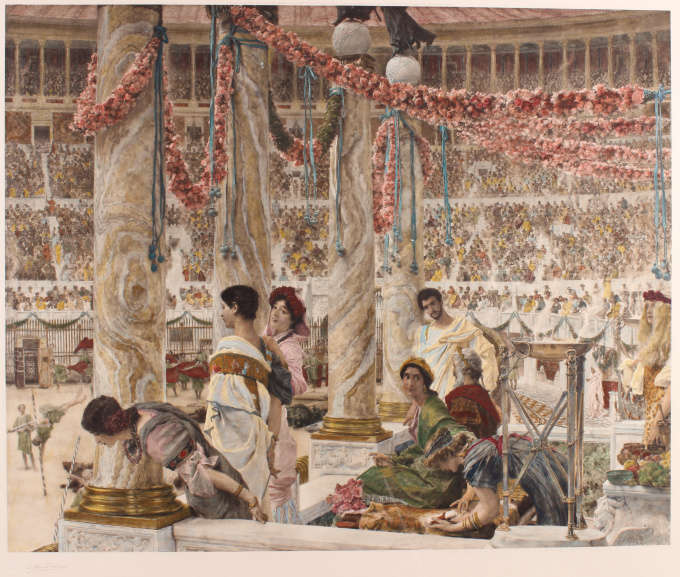 """""""Caracalla and Geta: Bear Fight in The Coliseum, AD 203"""" (original engraving/ photogravure hand coloured) by Lawrence Alma-Tadema"""