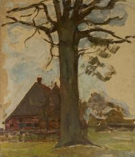Farm with tree by Piet Mondriaan