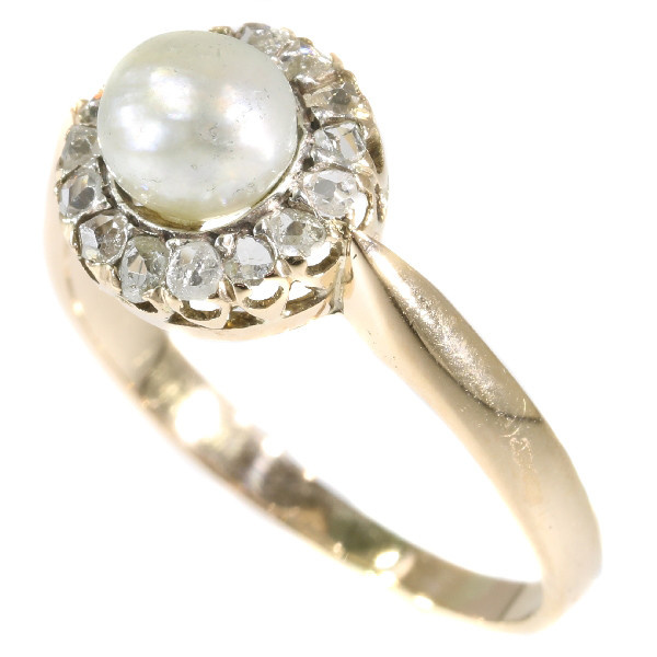 Antique rose cut diamond ring with single pearl by Unknown Artist