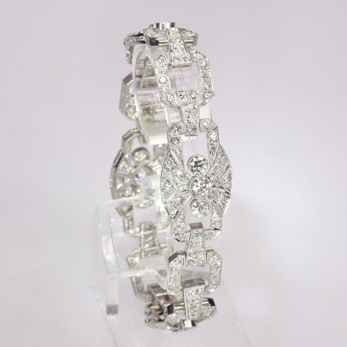 Authentic Art Deco platinum diamond bracelet 9.60 crt total diamond weight by Unknown Artist