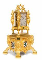 An important French malachite mounted exhibition travel clock by Paul Garnier, circa 1845 by Paul Garnier Paris